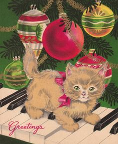 Vintage Christmas Card Kitten Piano Ornaments Unused Wallace Brown Made in USA in Collectibles, Paper, Vintage Greeting Cards, Christmas Cat Christmas Cards, Christmas Graphics, Old Christmas, Old Fashioned Christmas, Christmas Animals, Retro Christmas, Christmas Greetings, Christmas Ornaments, Christmas Kitty