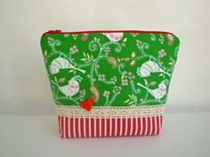 218894e382 Green cotton wash bag toiletry bag paisley wash by GerdaBags Christmas  Bird