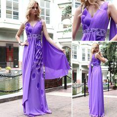 Purple Floor-length V-neck Sheath/Column Formal Evening Dress