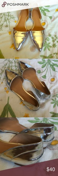 J. Crew Factory Silver D'Orsay Flats Fun metallic flats add some glam to any outfit. Dress up or down. Purchased brand new in box. These have wear from people trying on in store.  See wear in fourth photo. Happy to offer bundle discounts! J. Crew Shoes Flats & Loafers