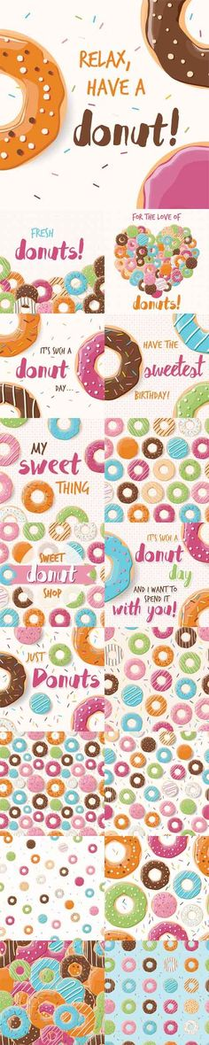 Vector Posters and Patterns Design with Colorful Glossy Tasty Donuts