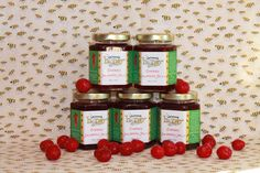Cherry Jalapeno Jelly - Alberta Evens Cherries are subtly tart and when blended with our own Jalapenos and honey make for awesomely flavorful condiment. Try it as a topping on crackers with cream cheese as a glaze for meat, fish or veggies or mixed with plain yogurt.
