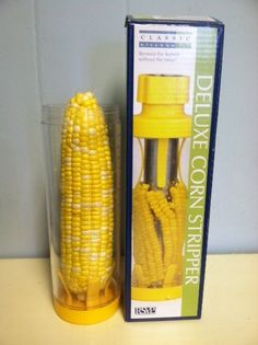 Deluxe Corn Stripper  If you want to strip the kernels off corn with no mess, this does the trick! Simply put the cooked or fresh corn on the cob in the cylinder, put the top back on, insert the stainless steel cutter twisting and pushing the kernels off the cob. Use the plunger to remove the cob from the tube and you are done! No more messy counter tops with corn juice everywhere.