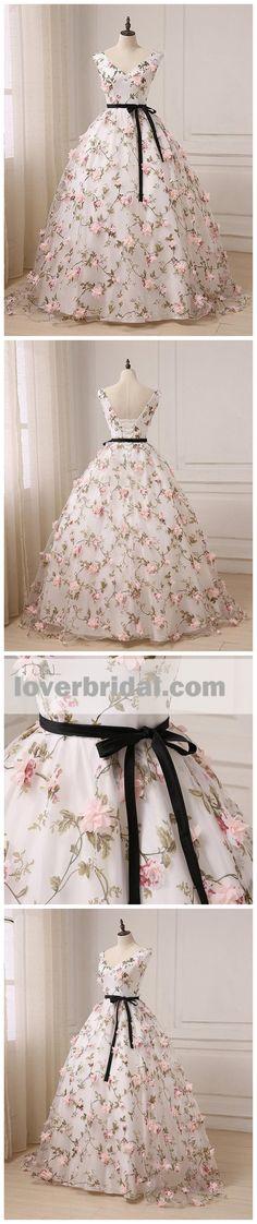 2018 V Neck A line Lace Flower Long Evening Prom Dresses, 17553