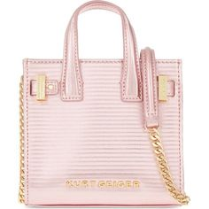 KURT GEIGER LONDON London micro leather tote ($175) ❤ liked on Polyvore featuring bags, handbags, tote bags, fushia croc, crocodile tote, pink purse, tote handbags, leather tote purse and leather handbags