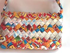 Purse Candy Gum Wrapper Craft Handbag Metallic Folded Interlocked Small Recycle #Unknown #Baguette