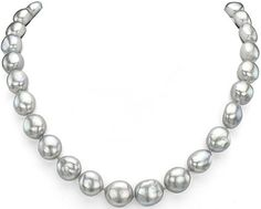 #Jewelry #Pearls 14k White Gold 12-12.5mm Dyedgrey Baroque Freshwater Cultured Pearl Satin Lock Clasp Necklace, 17.5