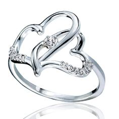 "Show your true love with this sterling silver ring with two open hearts interwined with CZs on the outside of the hearts and a CZ in the middle of the two hearts. Imported.STERLING SILVER is the standard for fine silver jewelry in the world over. Only Sterling Silver can be stamped with a ""fineness mark"" of .925 indicating its high quality."