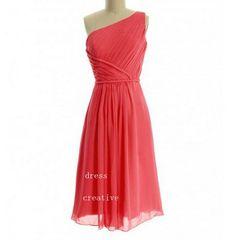 Coral One Shoulder Knee Length Chiffon Bridesmaid Dress, Strap Short Chiffon Dress on Etsy, $88.00