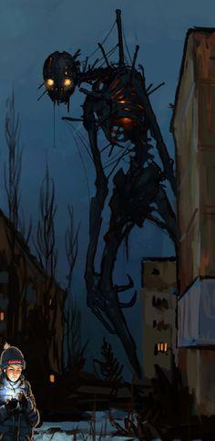 """""Night Walking by Boris Groh "" "" Monster Concept Art, Fantasy Monster, Monster Art, Creepy Monster, Creepy Drawings, Cool Drawings, Arte Horror, Horror Art, Creepy Art"