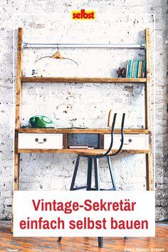 Dieser #Vintage-#Schreibtisch ist ein echter Blickfang in deinem #HomeOffice. Sieht schwierig aus – ist es aber nicht. In der #kostenlosen #Bauanleitung zeigen wir dir, wie du diesen #einzigartigen #Sekretär für dein #Büro #selbst #bauen kannst. #Wohntrend #Arbeitszimmer #DIY #Industrial #Shabby #Holz
