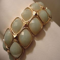Soft Jade, Gold Framed Double Stretch Bracelet