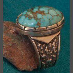 Fox Turquoise and Silver Ring Green Turquoise, Turquoise Jewelry, Blue Green, Mens Gemstone Rings, Jewelry Rings, Jewelery, Native American Rings, Ancient Jewelry, Amber