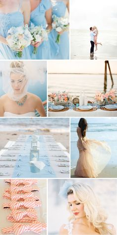 Coral and blue - very soft and pretty, love this inspiration! (beach wedding | Tumblr)