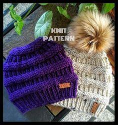 Knit Messy Bun Hat Pattern, Knit Beanie Pattern, M Messy Bun Knitted Hat, Knitted Hats, Knit Beanie Pattern, Ponytail Hat Knitting Pattern, Loom Knitting, Knitting Patterns Free, Hat Patterns, Knitting Designs, Knitting Ideas