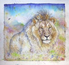 'Lying Lion' Watercolour Mijello_Mission Gold Class and Ink-pen on Saunders Waterford by St Cuthberts Mill, x 56 cm St Cuthbert, Gold Class, Petra, Big Cats, Lions, Watercolour, My Arts, Artist, Room