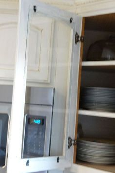 "Kitchen Cabinets Doors to make ""custom"" glass kitchen cabinet doors, just pry off the"