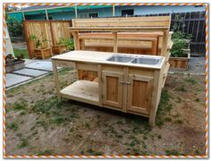 Pallet work bench ideas garden rk table potting station buy bench metal plans benches shed rkbench Camp Kitchen With Sink, Portable Camp Kitchen, Kitchen Sink, Summer Kitchen, Pallet Work Bench, Diy Bench, Potting Bench With Sink, Potting Benches, Garden Sink