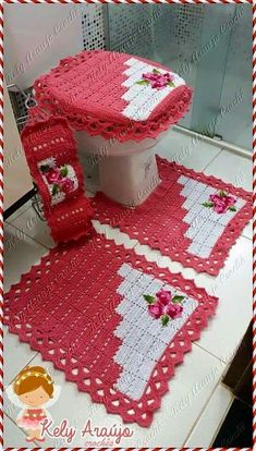 Crochet For Home - Bathroom Crochet Home, Crochet Crafts, Crochet Projects, Yarn Crafts, Knit Crochet, Diy And Crafts, Crochet Purses, Crochet Doilies, Knitting Patterns