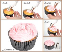 how to make a perfect rose frosting on a cup cake!