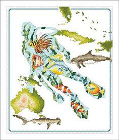 Reef Diver - Cross Stitch Pattern