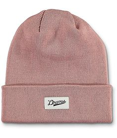 fb3123b9b8fce Keep your dome nice and snug in the super trendy Alden foldover beanie in  dusty pink that has a tight knit construction and a Dravus brand patch on  the ...