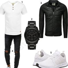 Cool men's outfit with white Indicode shirt, black Emporio Armani watch, Redbridge leather jacket, destroyed jeans and white Adidas shoes. Best Leather Jackets, Men's Leather Jacket, Butch Fashion, Mens Fashion, Emporio Armani, Mode Man, Cooler Look, Masculine Style, Neue Outfits