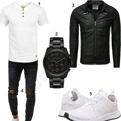 Schwarz-Weißes Herren-Outfit mit Lederjacke (m0454) #outfit #style #fashion #menswear #mensfashion #inspiration #shirt #cloth #clothing #männermode #herrenmode #shirt #mode #styling #sneaker #menstyle