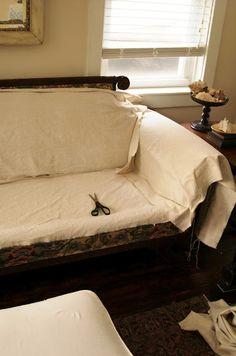Slipcover Sofa Transformation | Miss Mustard Seed.