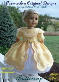 A Farmcookies original Sewing Pattern-- a very special and elegant mid-1800's gown. This sewing pattern brings a touch of elegance to our special American Girl Dolls. Depending on the fabric you choose, this historical gown can range from an afternoon dress to a formal ball gown. My pattern p