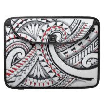 Red tribal polynesian patterns with shading MacBook pro sleeves