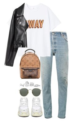 """""""Untitled #5222"""" by theeuropeancloset on Polyvore featuring MANGO, Balenciaga, Louis Vuitton, SKINN, GUESS and Ray-Ban"""