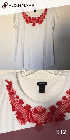 Ann Taylor beaded embroidered linen tee, L This pretty white linen tee has gorgeous red beading and embroidery along the yoke. Size L, never worn Ann Taylor Tops Tees - Short Sleeve