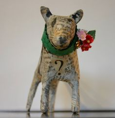 Small Papier Maché Bull Terrier with Green by TheTerriersClub