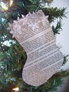 "Christmas stocking is hand crafted from recycled pages from Miss Austen's classic novel ""Pride and Prejudice."""