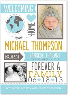 Adoption Photo Birth Announcements from Tiny Prints.