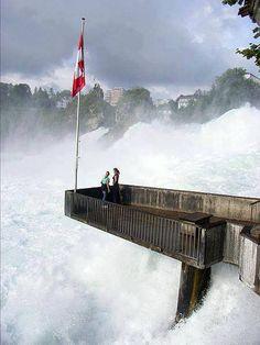 Rhine Falls , near the town of Schaffhausen in northern Switzerland, between the cantons of Schaffhausen and Zürich