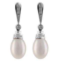 Pendiente Novia Perla Diamante Oro - Hurtado y Uria Joyeros