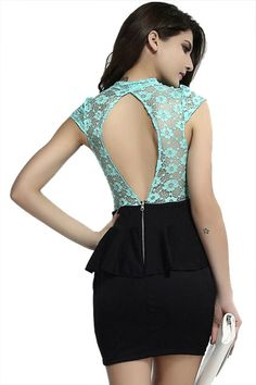 abaday Color Block Flouncing Backless Slim Lace Dress - Fashion Clothing, Latest Street Fashion At Abaday.com
