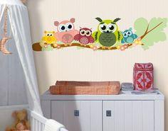 Beautiful  Wandtattoo Babyzimmer Eule No CG Eulenfamilie Kinderzimmerdeko Wandgestaltung Kids