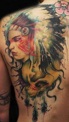 Native American inspired tattoo, Grey Freehand, Freehand Tattooing, Freehand Par, Abstract Freehand, Jayfreestyle Tattoo, Tattoo Back, Tattoo 287