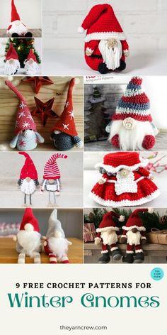 Crochet Applique Patterns Free, Christmas Crochet Patterns, Holiday Crochet, Free Crochet, Crochet Patterns Amigurumi, Free Pattern, Crochet Books, Crochet Gifts, Crochet Santa