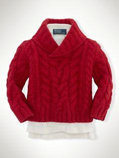 Aran-Knit Wool Shawl Sweater - Infant Boys Sweaters - RalphLauren.com