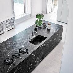 Modern Kitchen Interior Presenting the new N_Elle kitchen collection- here in the Grey Saint Laurent marble, gloss Cenere lacquer. Contemporary Interior Design, Modern Kitchen Design, Interior Design Kitchen, Contemporary Office, Kitchen Decor, Kitchen Ideas, Marble Interior, Contemporary Cottage, Contemporary Apartment