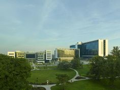 The 37-acre urban campus is situated across from Ball Gardens, a public garden design by The Olmsted Brothers. Glass and metal materials unify the campus buildings, which include the faculty office building (far left), ambulatory care facility (middle), and the inpatient care building (right). Credit: Tim Hursley