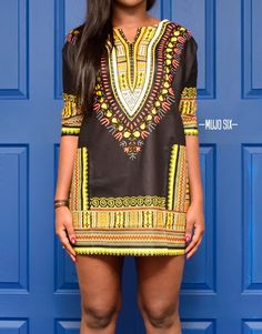 BLACK   GOLD CUSTOM DASHIKI DRESS
