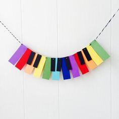 Items similar to Piano Garland / Music Garland / Mini Music Bunting / Keyboard Bunting / Rainbow Bunting / Photo Prop on Etsy Music Theme Birthday, Music Themed Parties, Music Party, First Birthday Parties, Birthday Party Themes, First Birthdays, Kid Parties, Birthday Ideas, Paint Chip Art