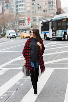Buffalo plaid and over the knee boots