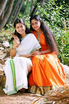 Meera and Kavya South India, Sari, Actresses, Actors, Movies, Fashion, Saree, Female Actresses, Moda
