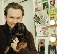 Christian Slater and his adorable dachshund.